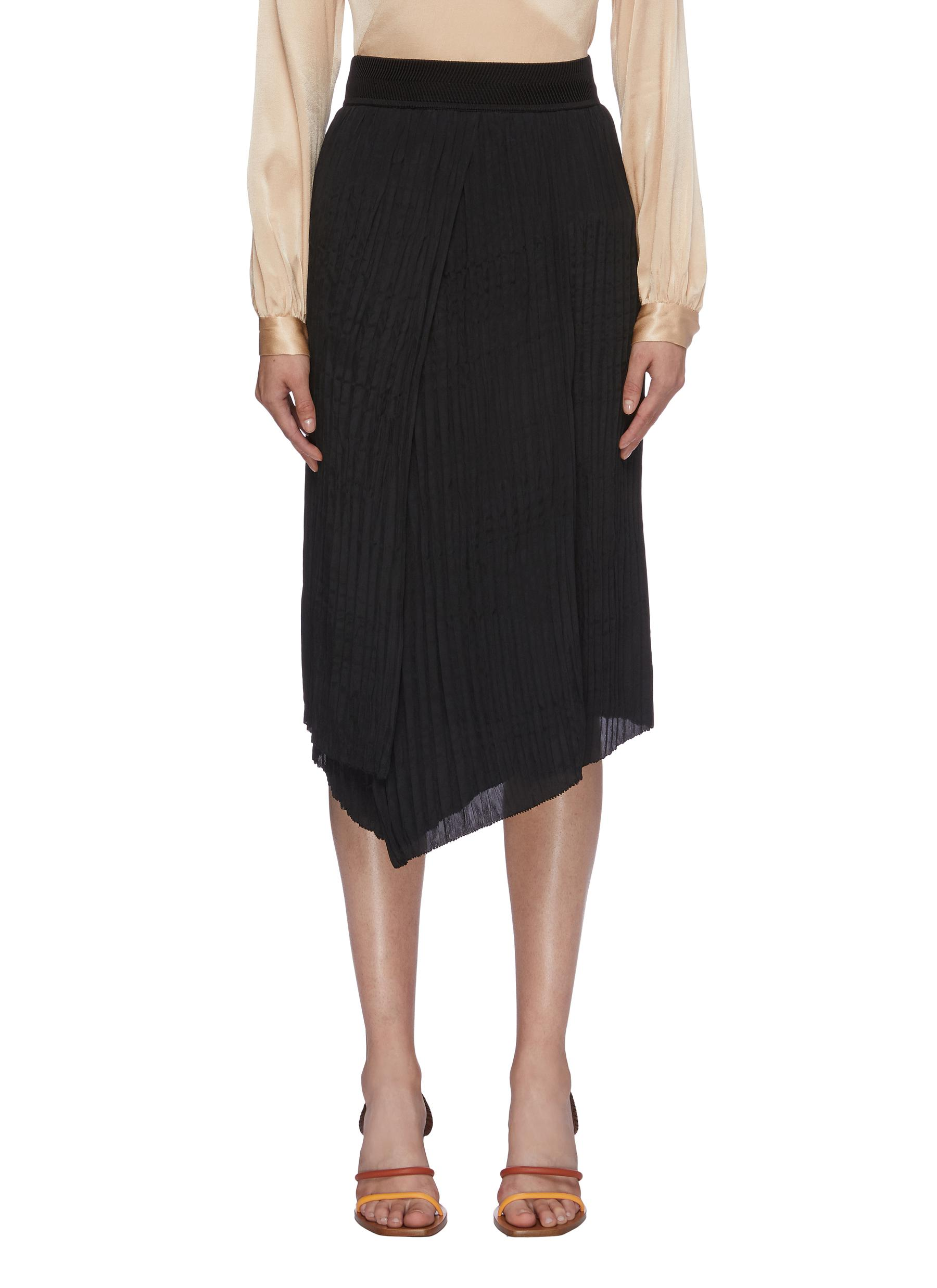 Crinkled pleated asymmetric skirt by Vince