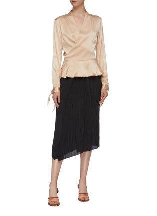 Figure View - Click To Enlarge - VINCE - Crinkled pleated asymmetric skirt