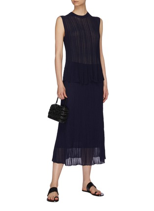 Figure View - Click To Enlarge - VINCE - Textured sheer knit ruffle skirt