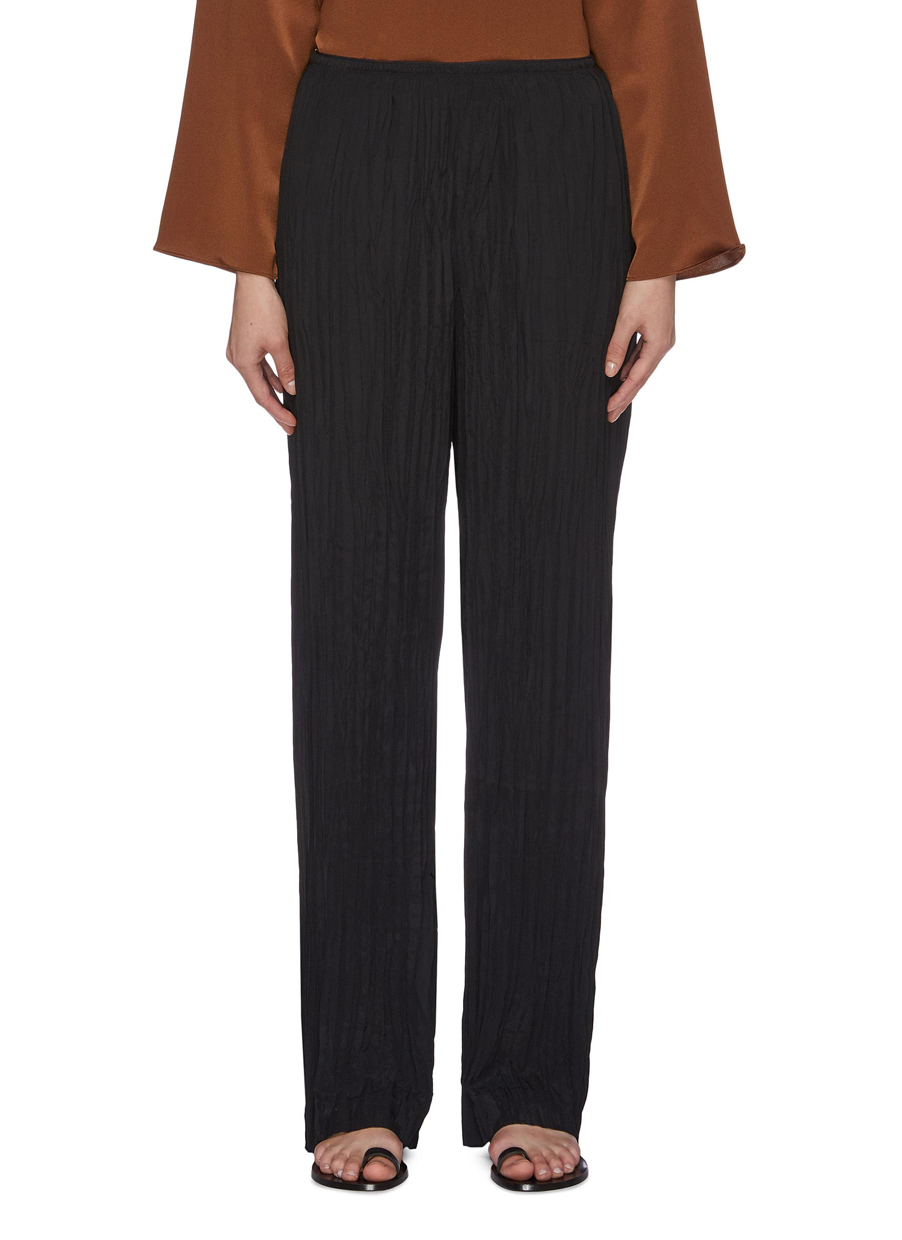 Crinkled pleated wide leg pants by Vince