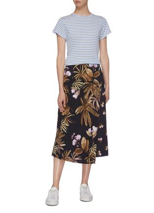 Figure View - Click To Enlarge - VINCE - Silk blend stripe T-shirt