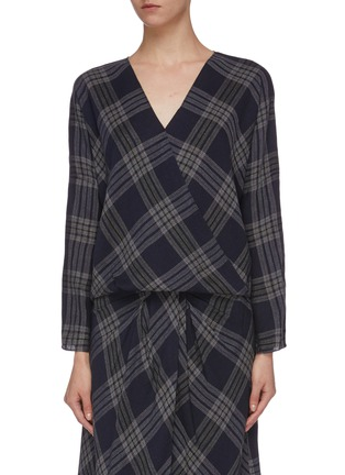 Main View - Click To Enlarge - VINCE - Crossover check plaid blouse