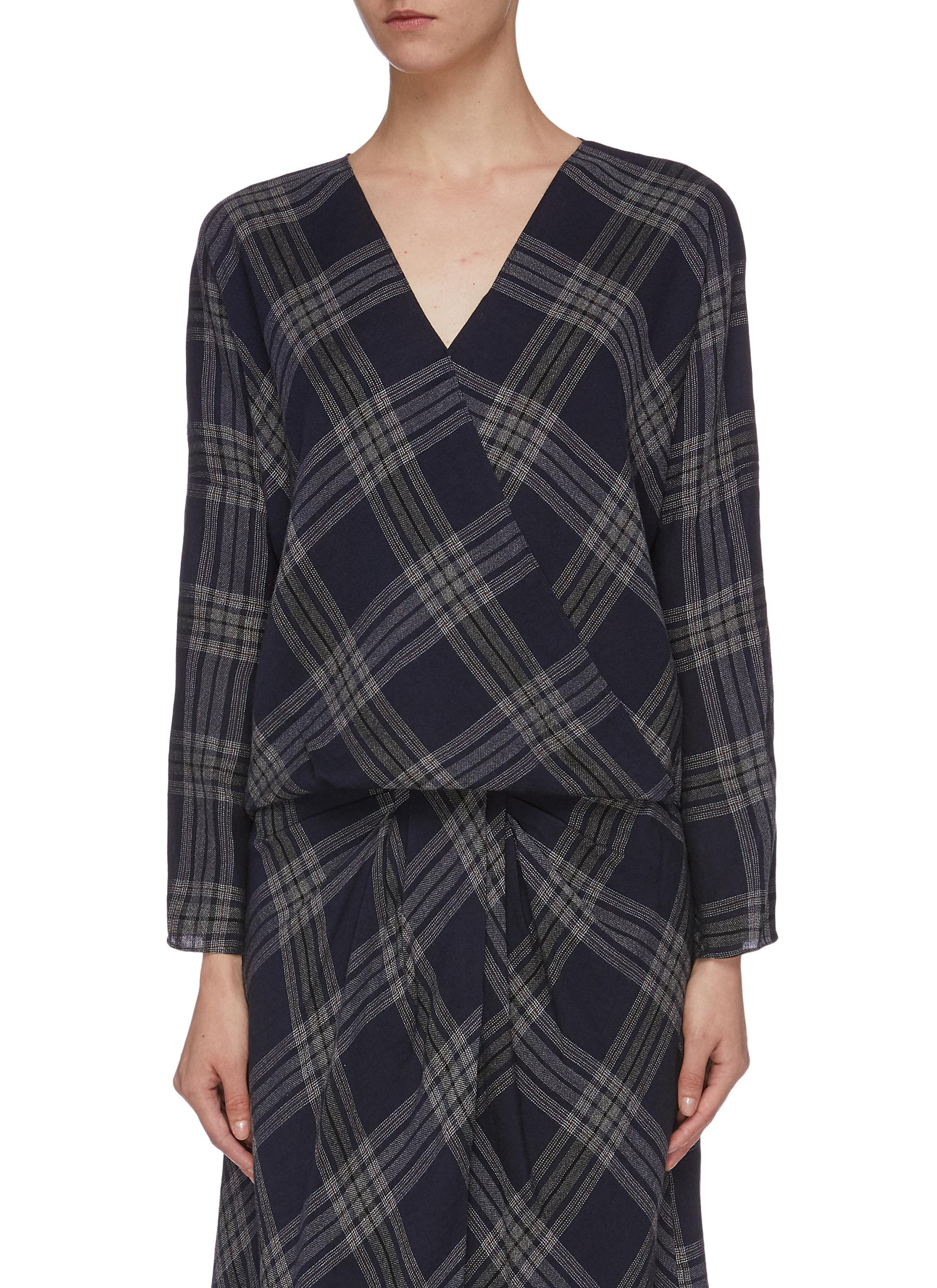 Crossover check plaid blouse by Vince