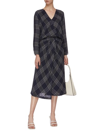 Figure View - Click To Enlarge - VINCE - Crossover check plaid blouse