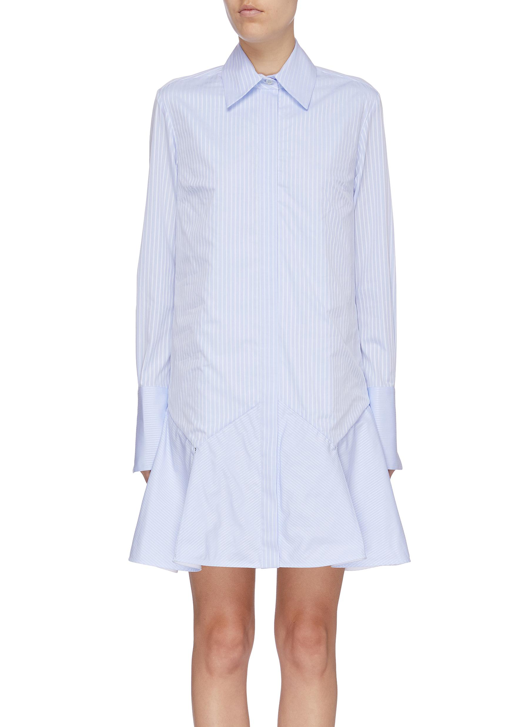 Stripe peplum shirt dress by Victoria, Victoria Beckham