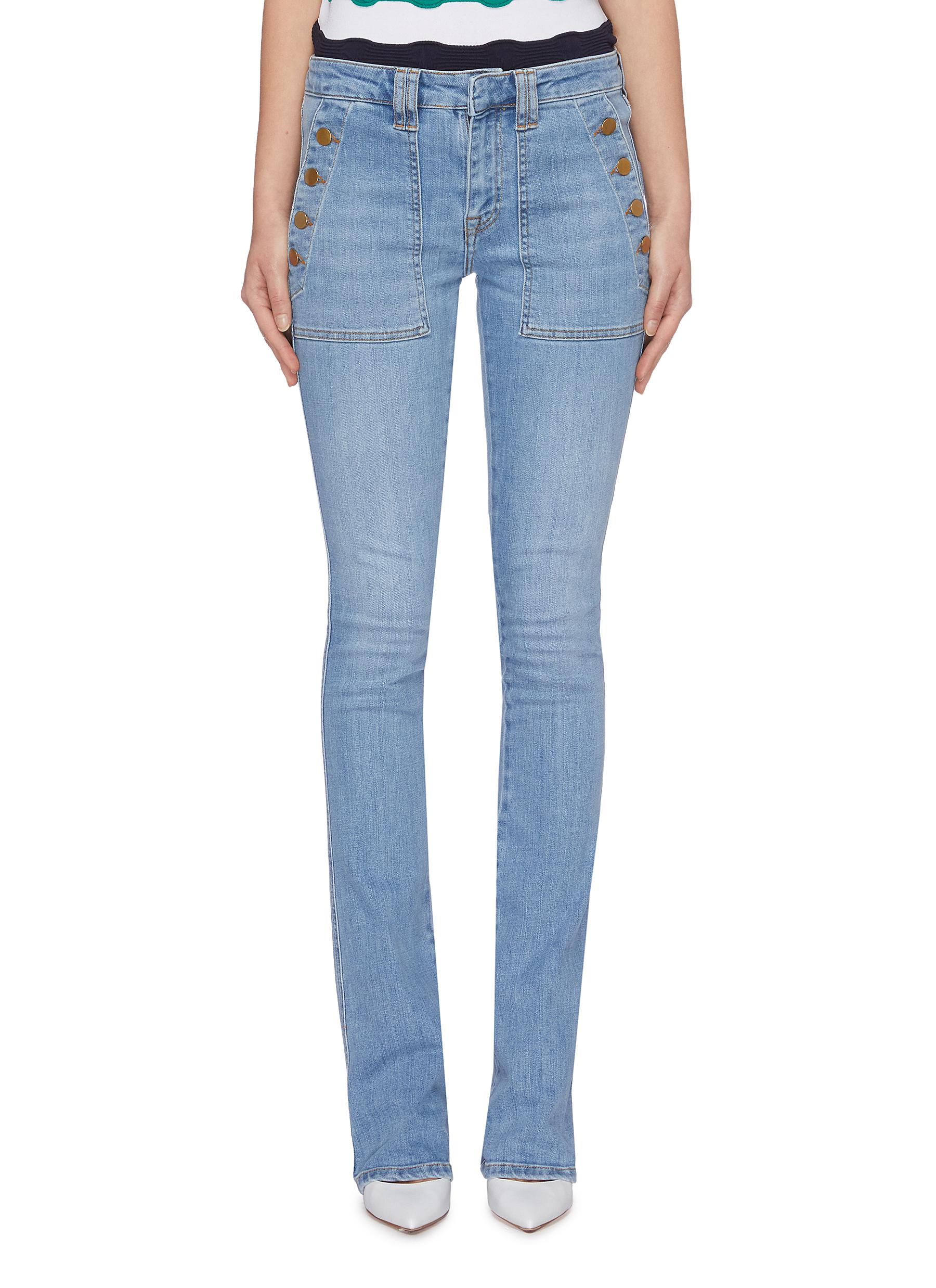 Button panelled pocket flared jeans by Victoria, Victoria Beckham