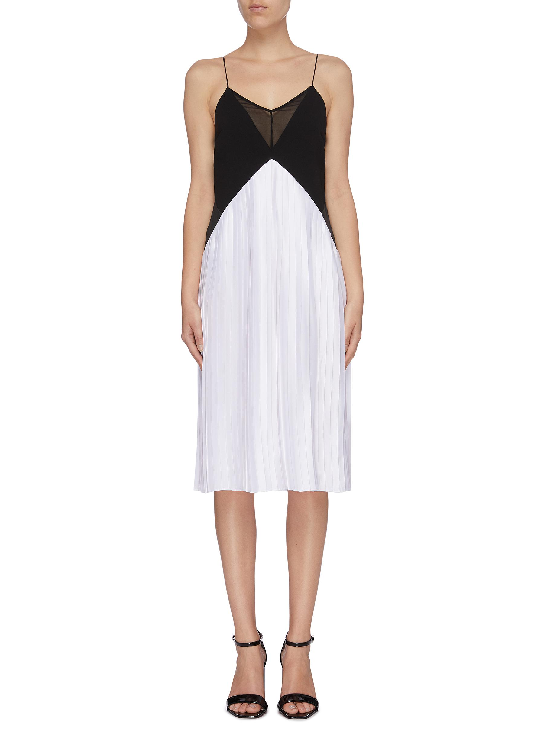 Colourblock pleated camisole dress by Victoria, Victoria Beckham