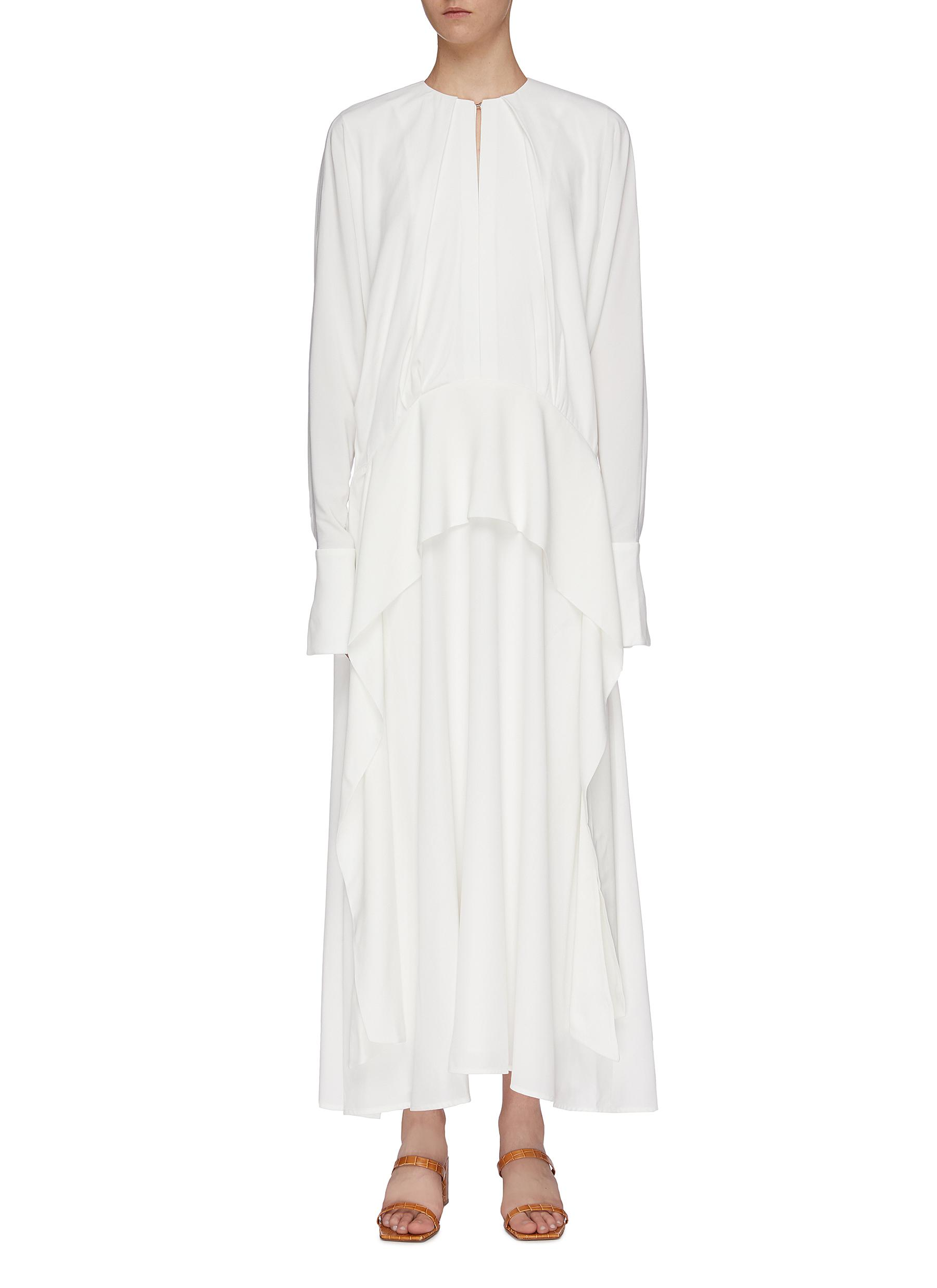 Keyhole front oversized drape crepe dress by Victoria, Victoria Beckham