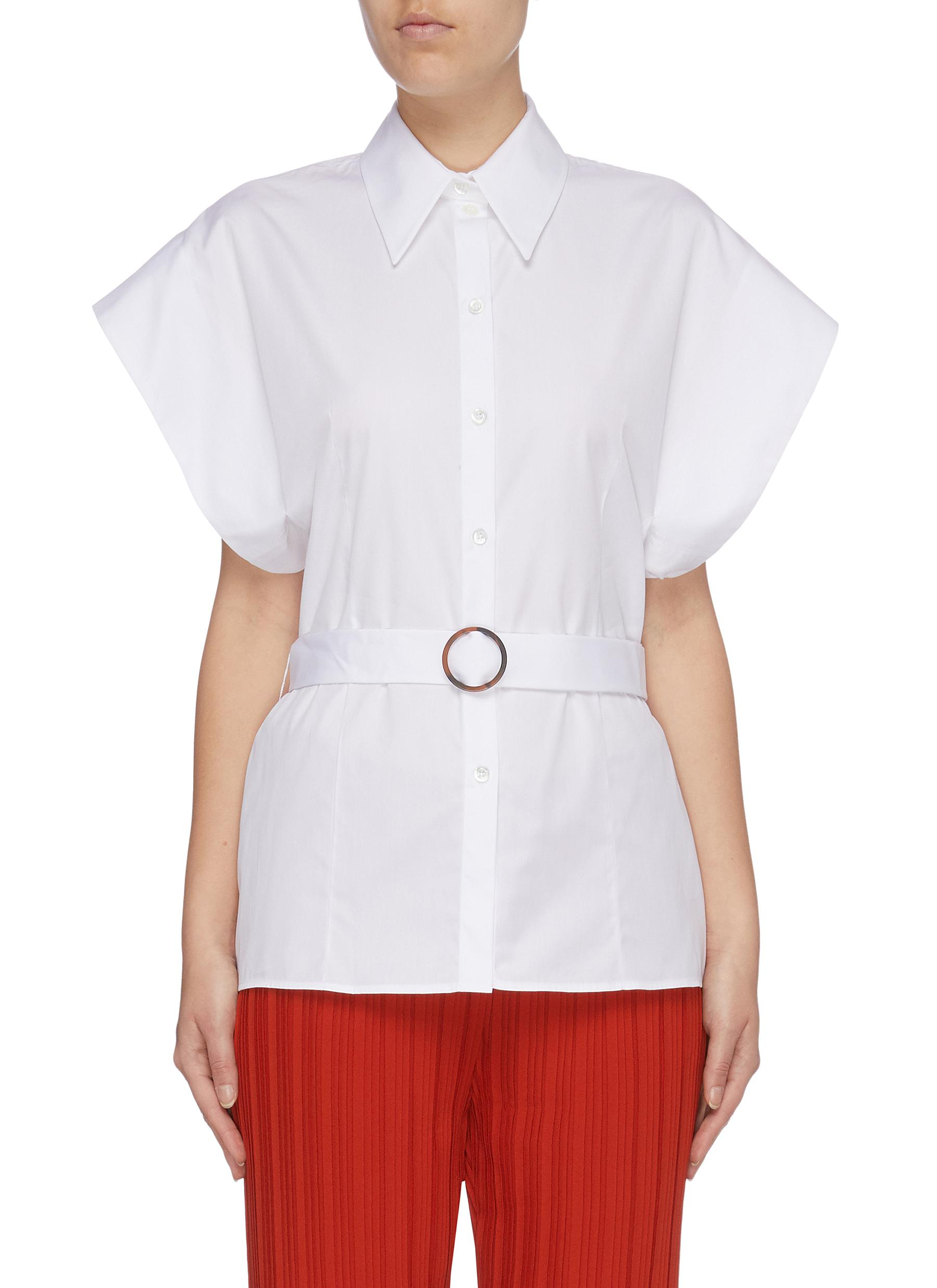 Belted flared short sleeve shirt by Victoria, Victoria Beckham