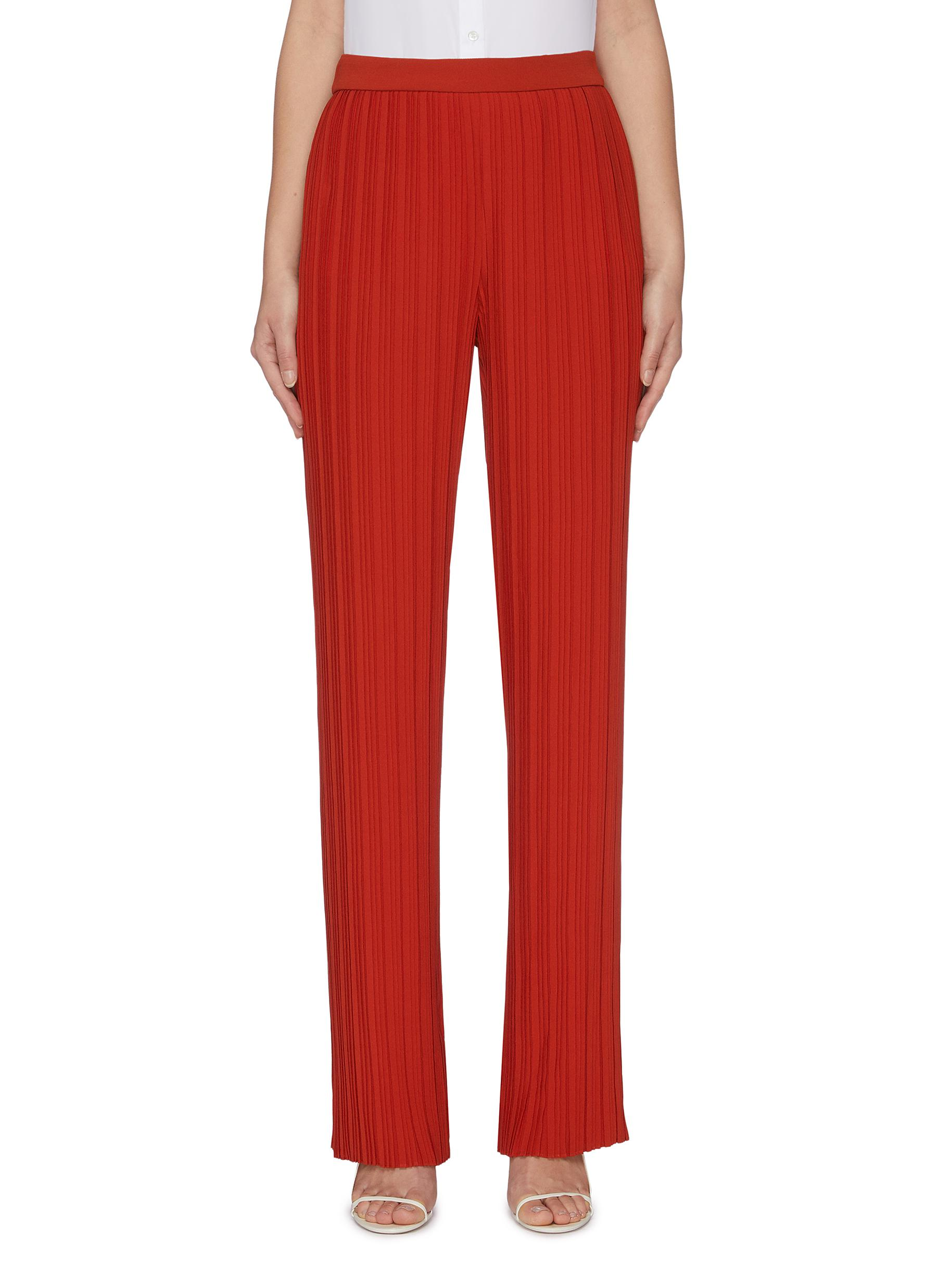 Pleated crepe straight leg pants by Victoria, Victoria Beckham