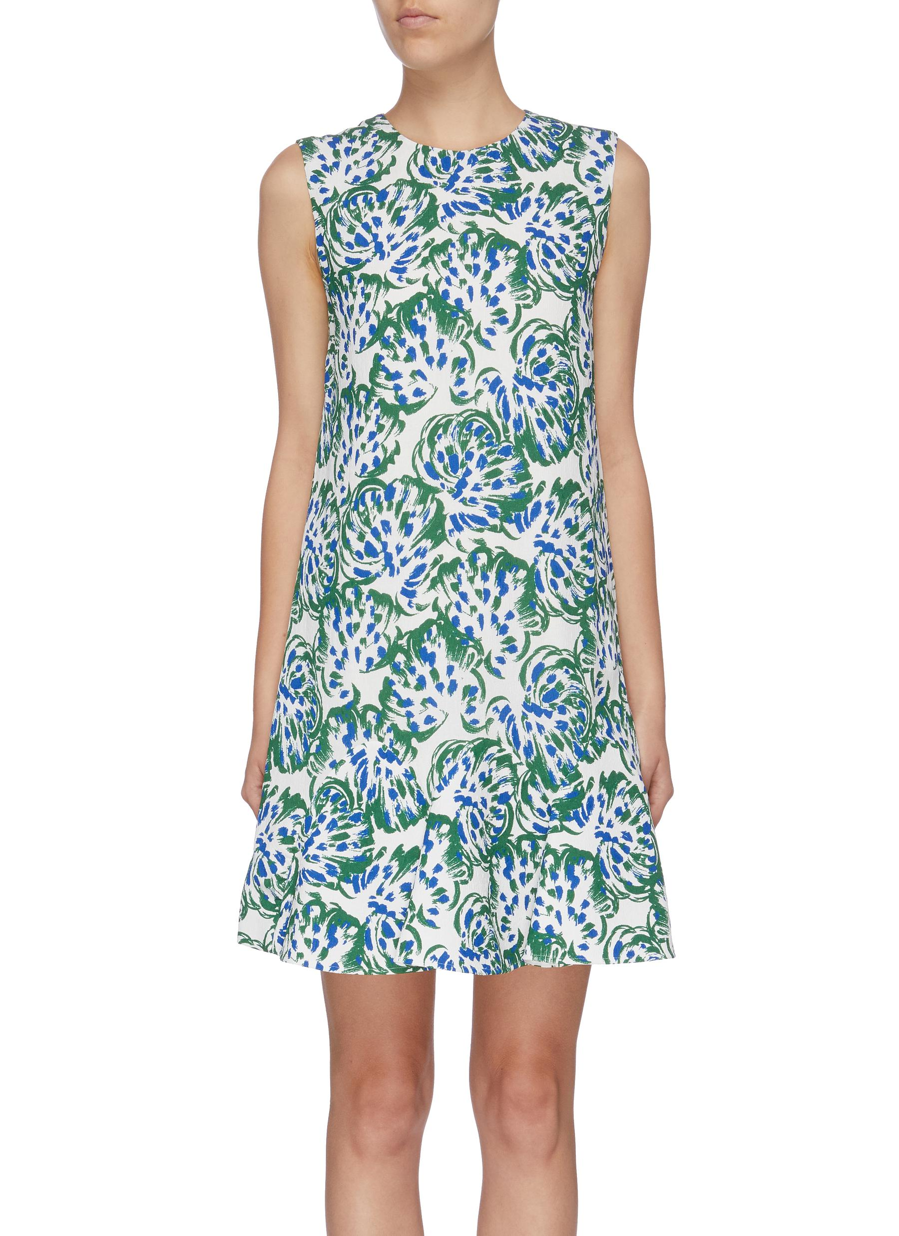 Ruffle hem abstract floral print sleeveless dress by Victoria, Victoria Beckham