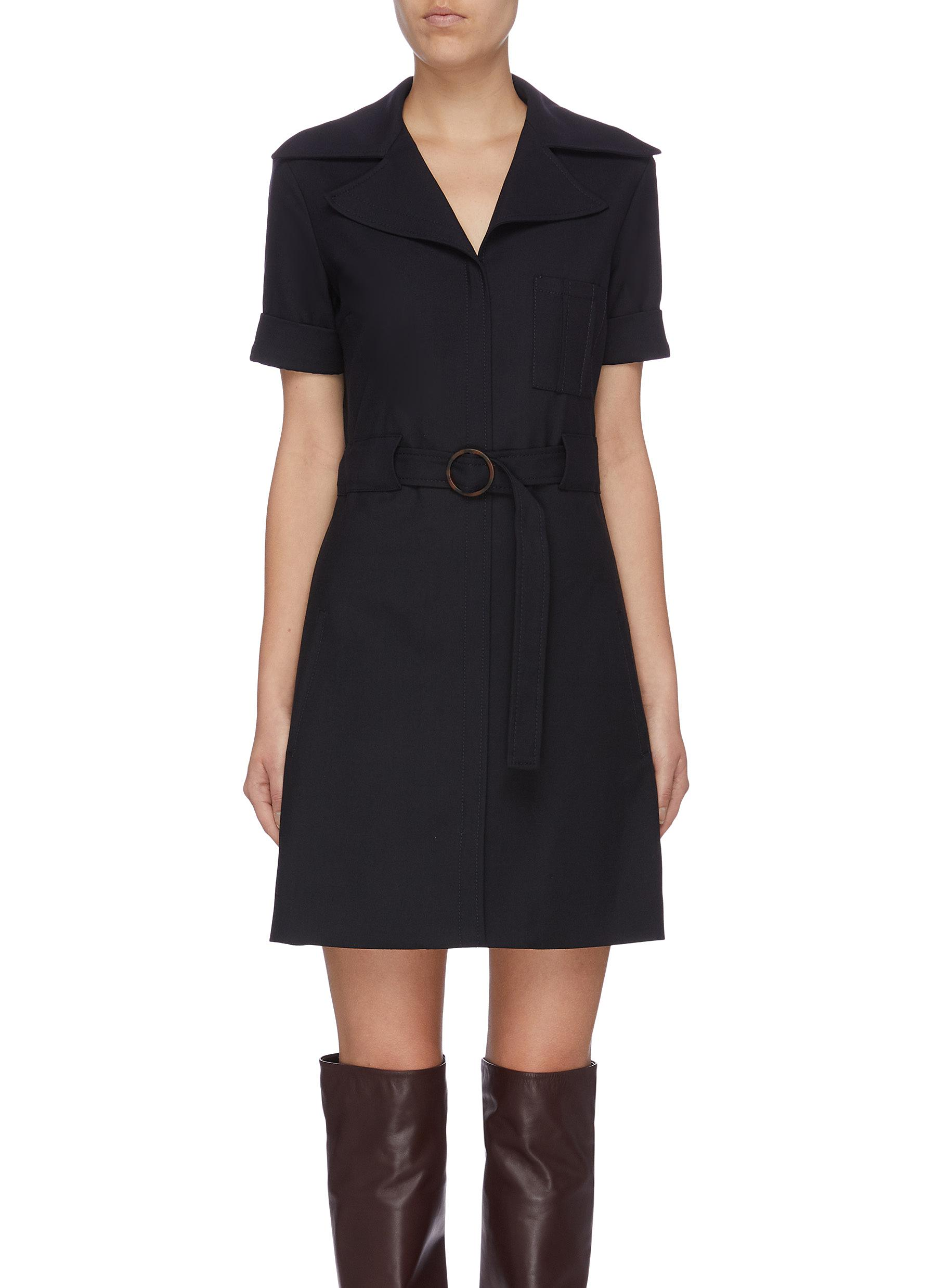 Belted patch pocket twill dress by Victoria, Victoria Beckham