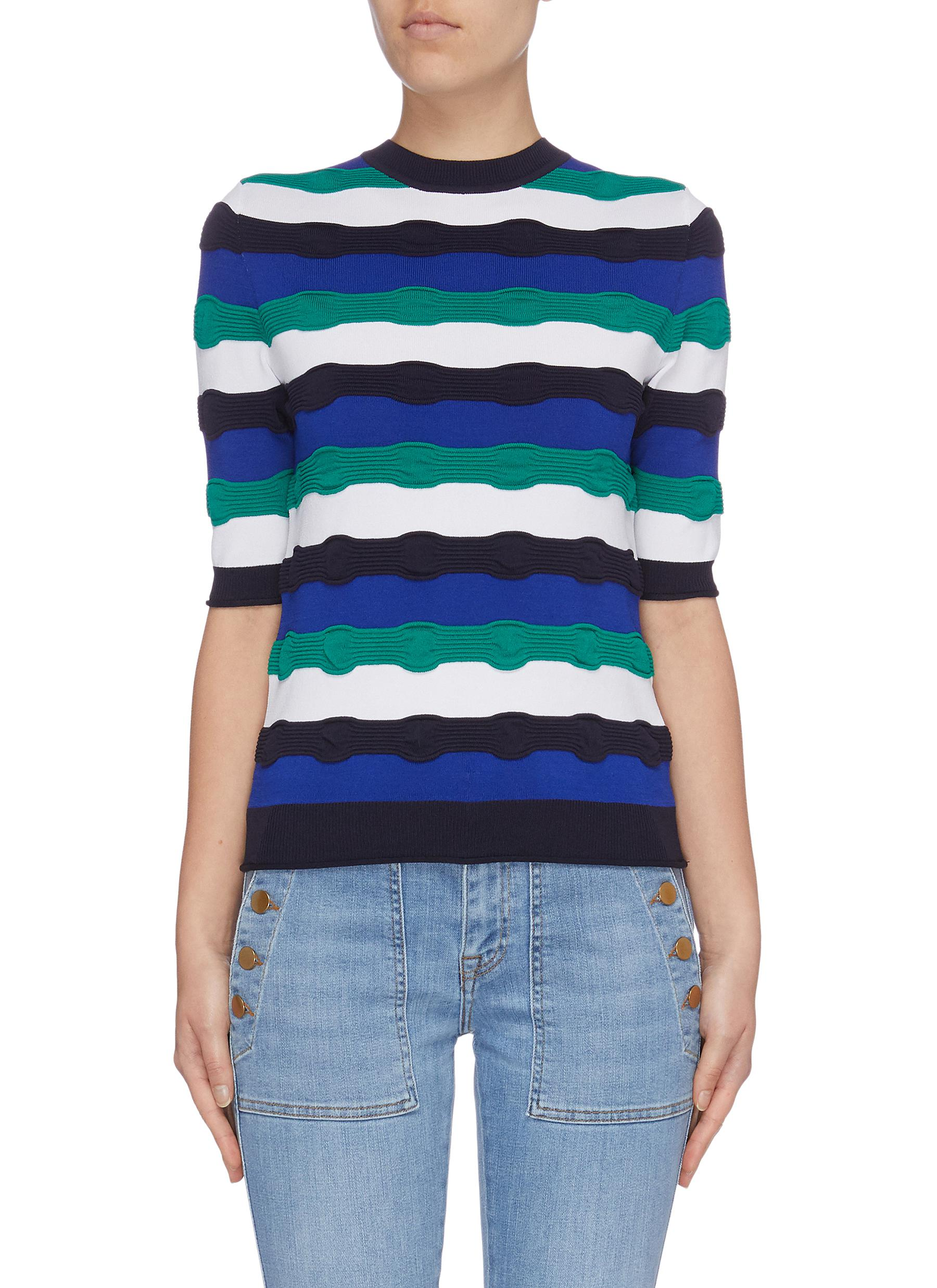 Wavy stripe mix knit short sleeve sweater by Victoria, Victoria Beckham