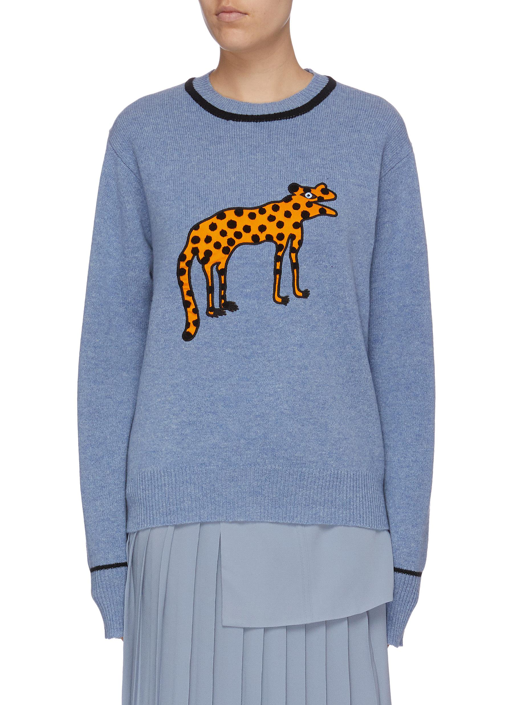 Spotted creature patch lambswool sweater by Victoria, Victoria Beckham