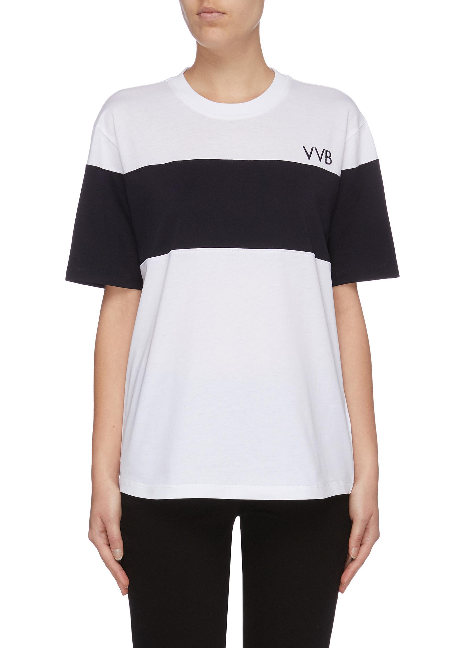 Logo print colourblock boxy T-shirt by Victoria, Victoria Beckham