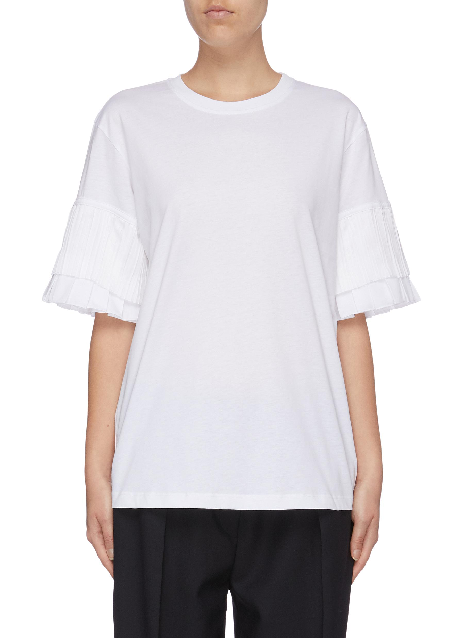 Tiered pleated sleeve T-shirt by Victoria, Victoria Beckham