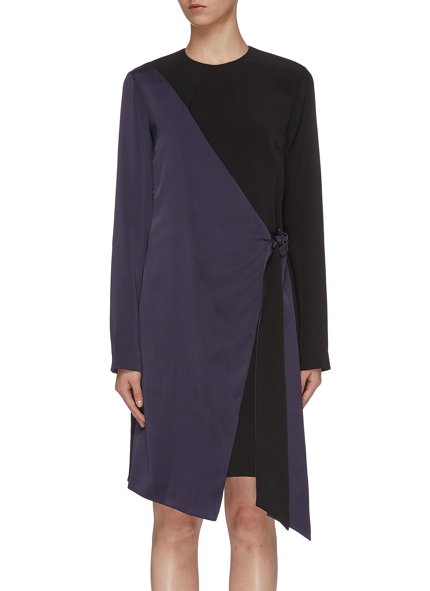Tie colourblock wrap panel dress by Victoria, Victoria Beckham