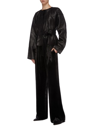 Figure View - Click To Enlarge - MS MIN - Belted textured jacket