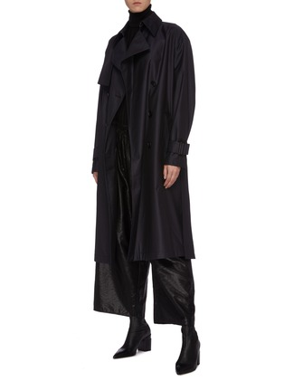 Figure View - Click To Enlarge - MS MIN - Belted wool-silk gabardine trench coat