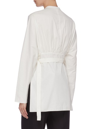 Back View - Click To Enlarge - MS MIN - Tie waist half-button placket shirt