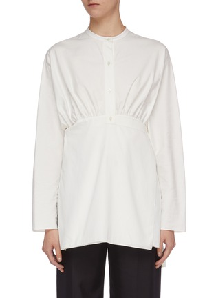 Main View - Click To Enlarge - MS MIN - Tie waist half-button placket shirt