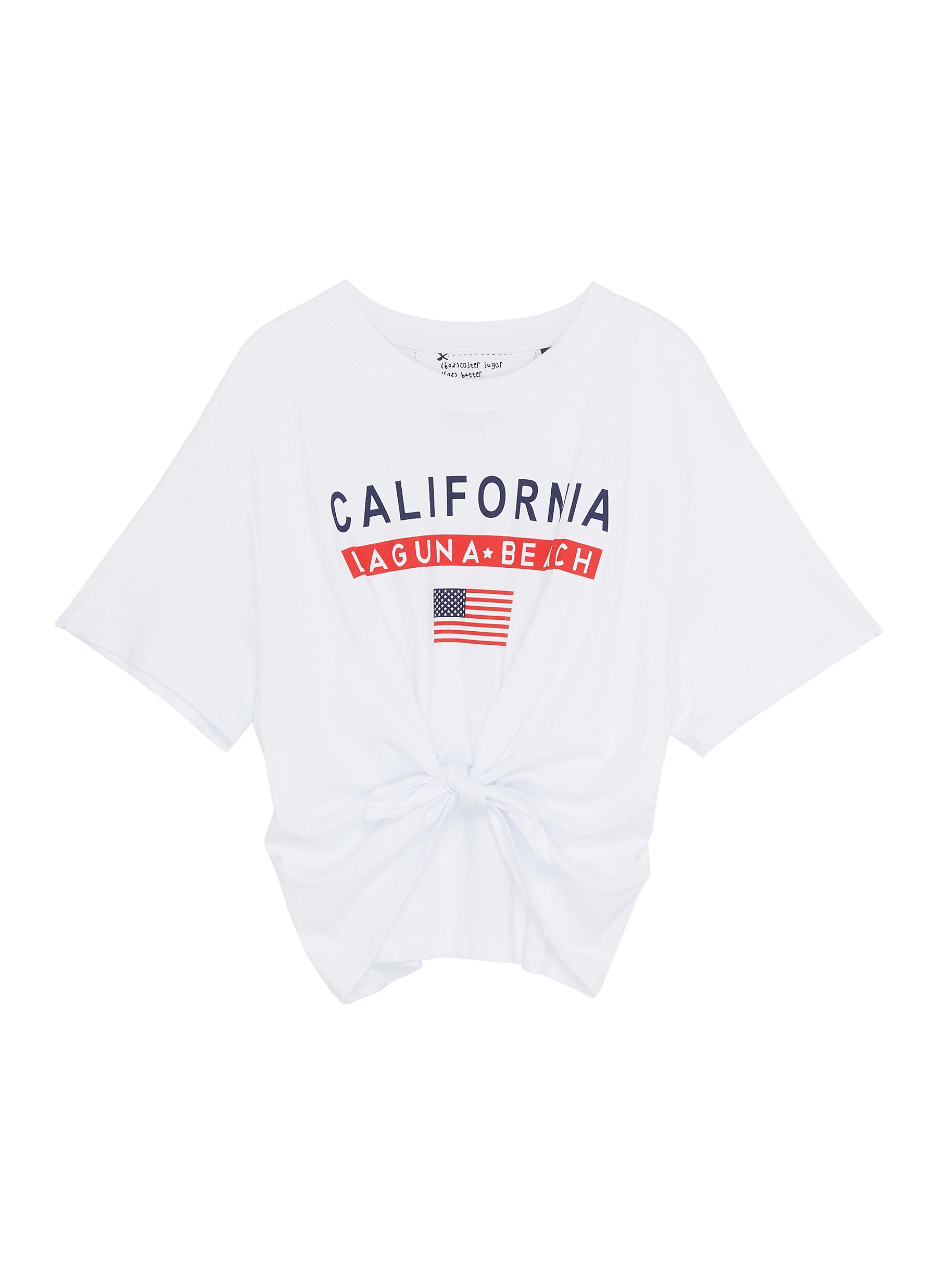15972c29a07 ... cropped T-shirt. Main View - Click To Enlarge - TOPSHOP - Petite 'Cali'  slogan print tie