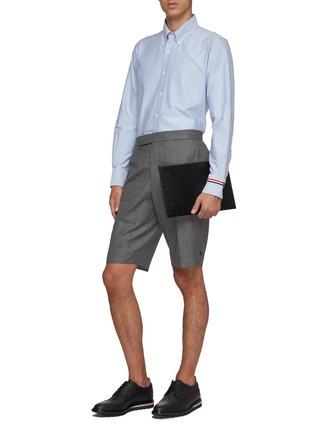 Figure View - Click To Enlarge - THOM BROWNE - Waist tab wool shorts
