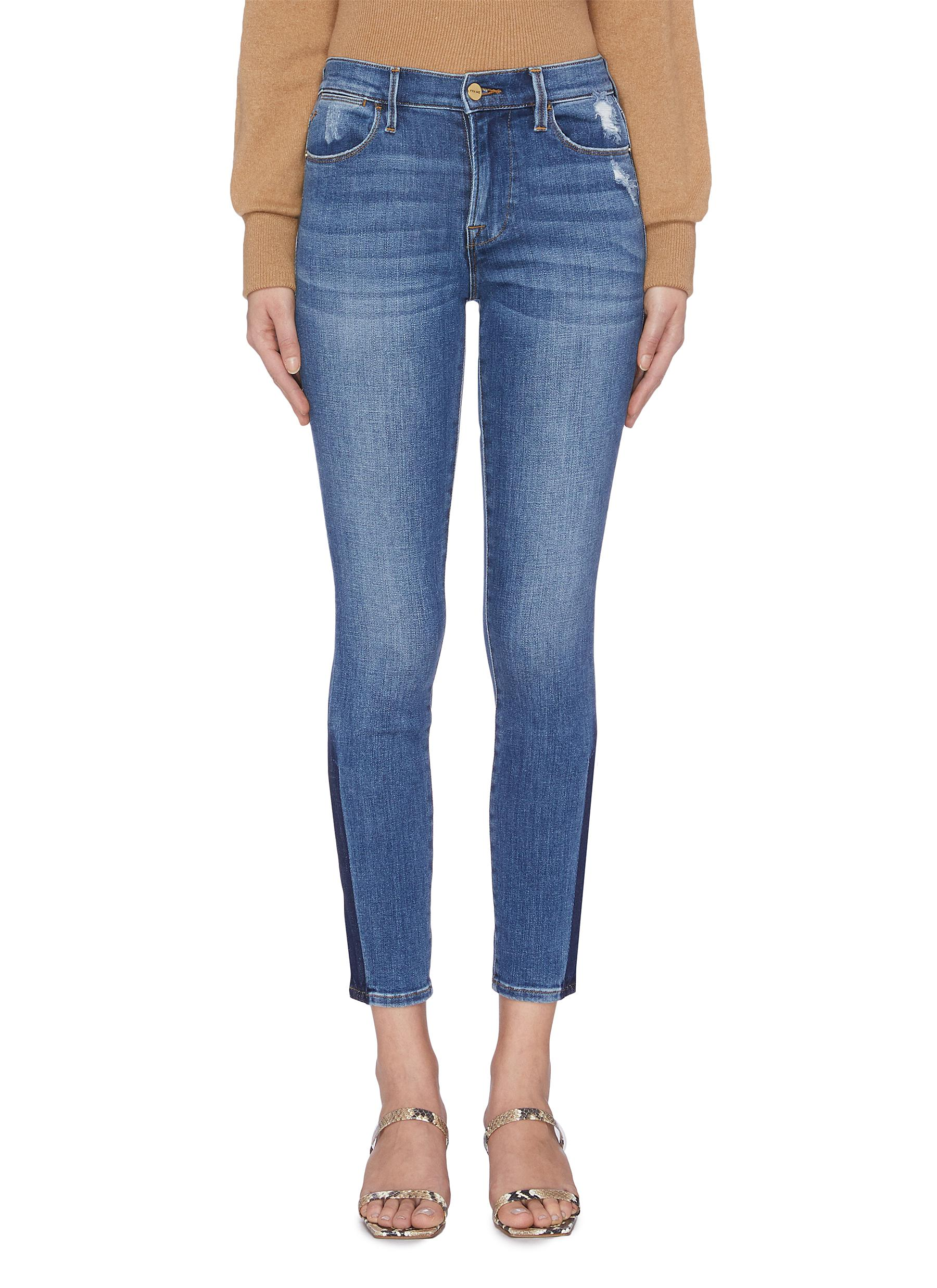 Le High Skinny stripe outseam jeans by Frame Denim