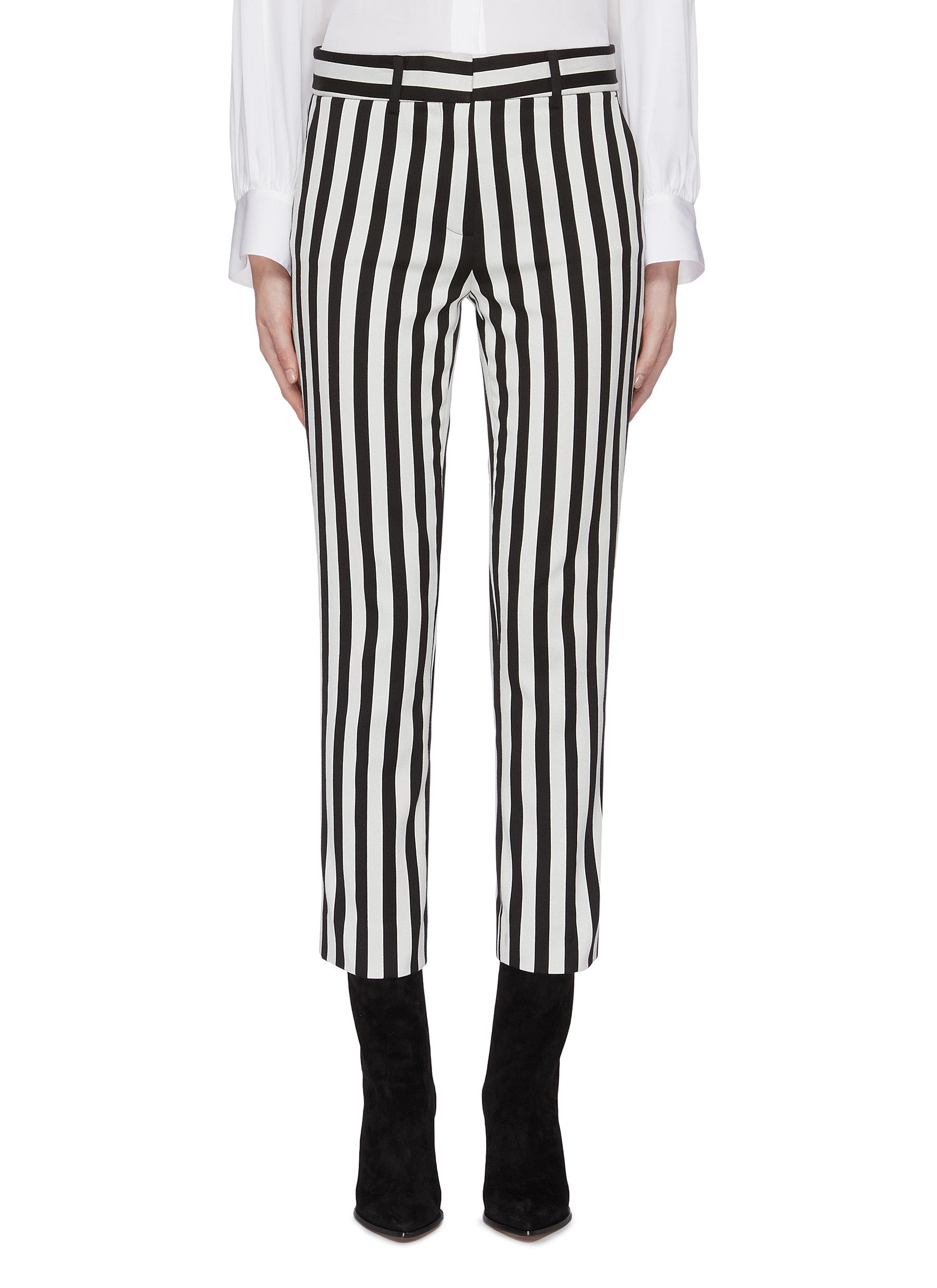 Belted stripe cropped pants by Frame Denim