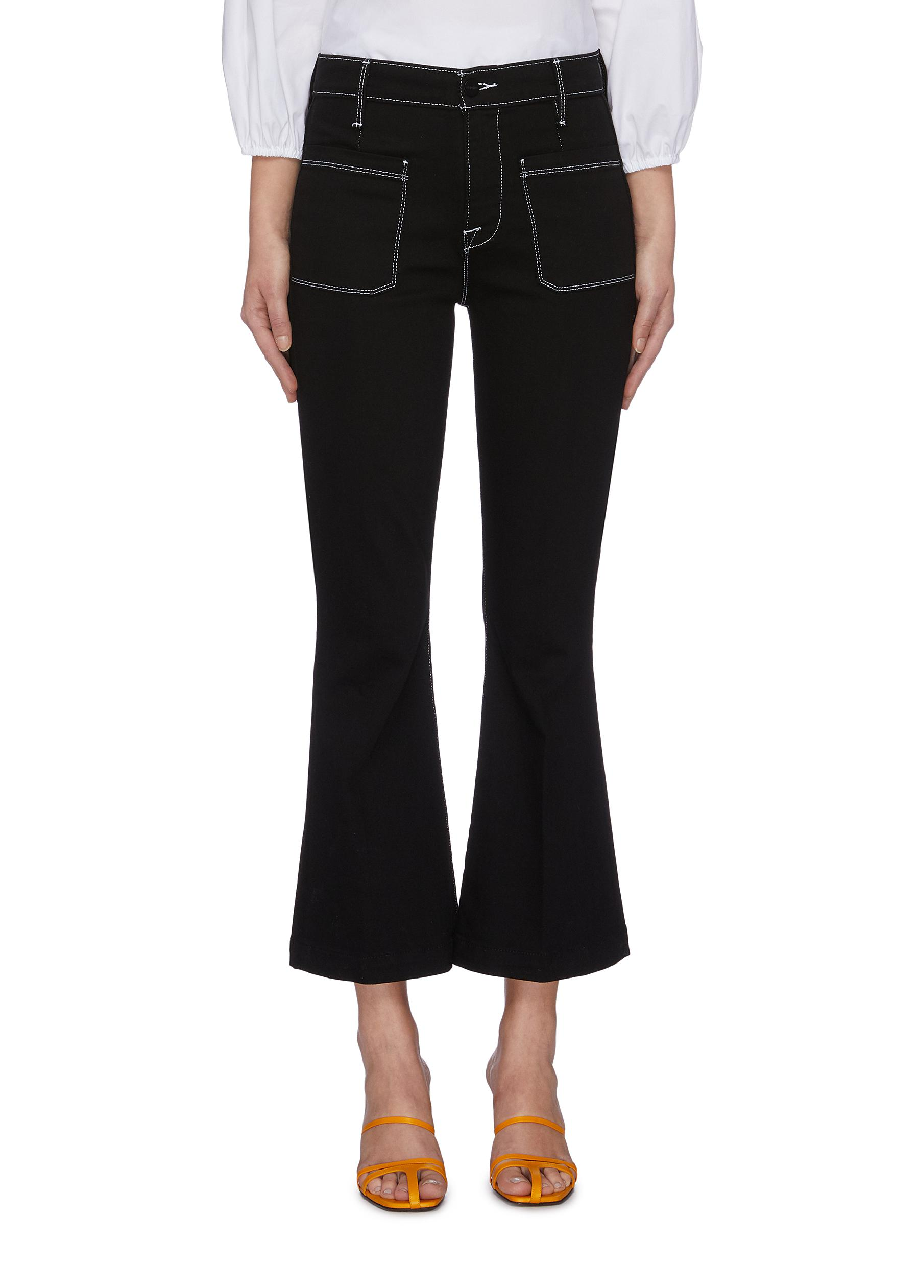 Bardot contrast stitching flared jeans by Frame Denim