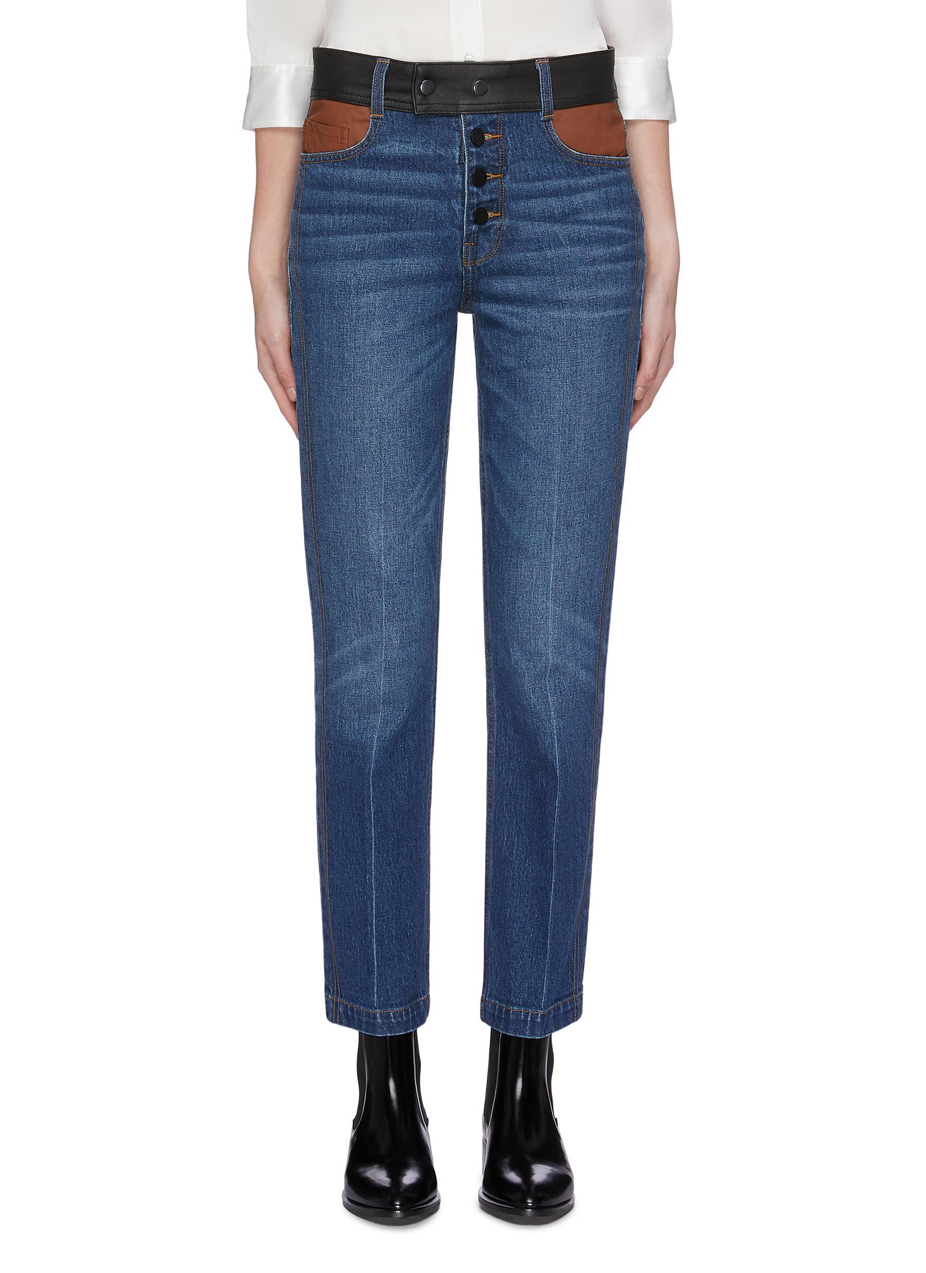 Sylvie colourblock leather waistband jeans by Frame Denim