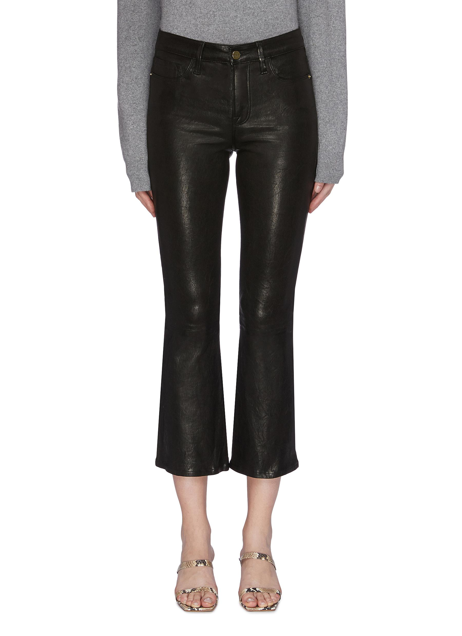 Le Crop flared cropped leather pants by Frame Denim