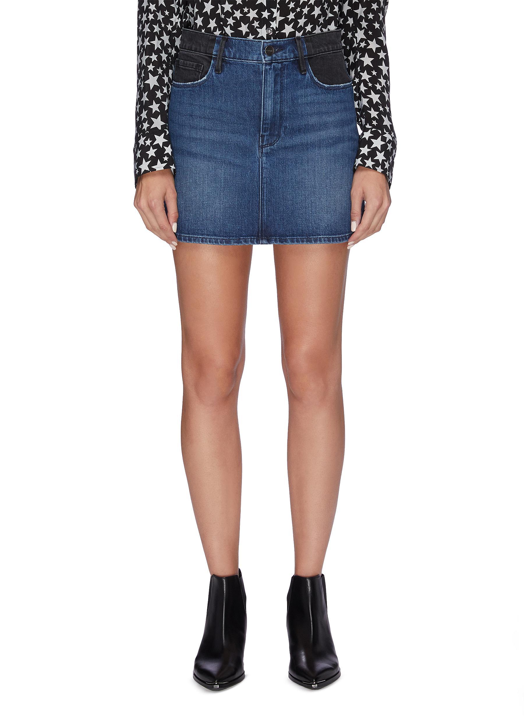 Colourblock denim mini skirt by Frame Denim