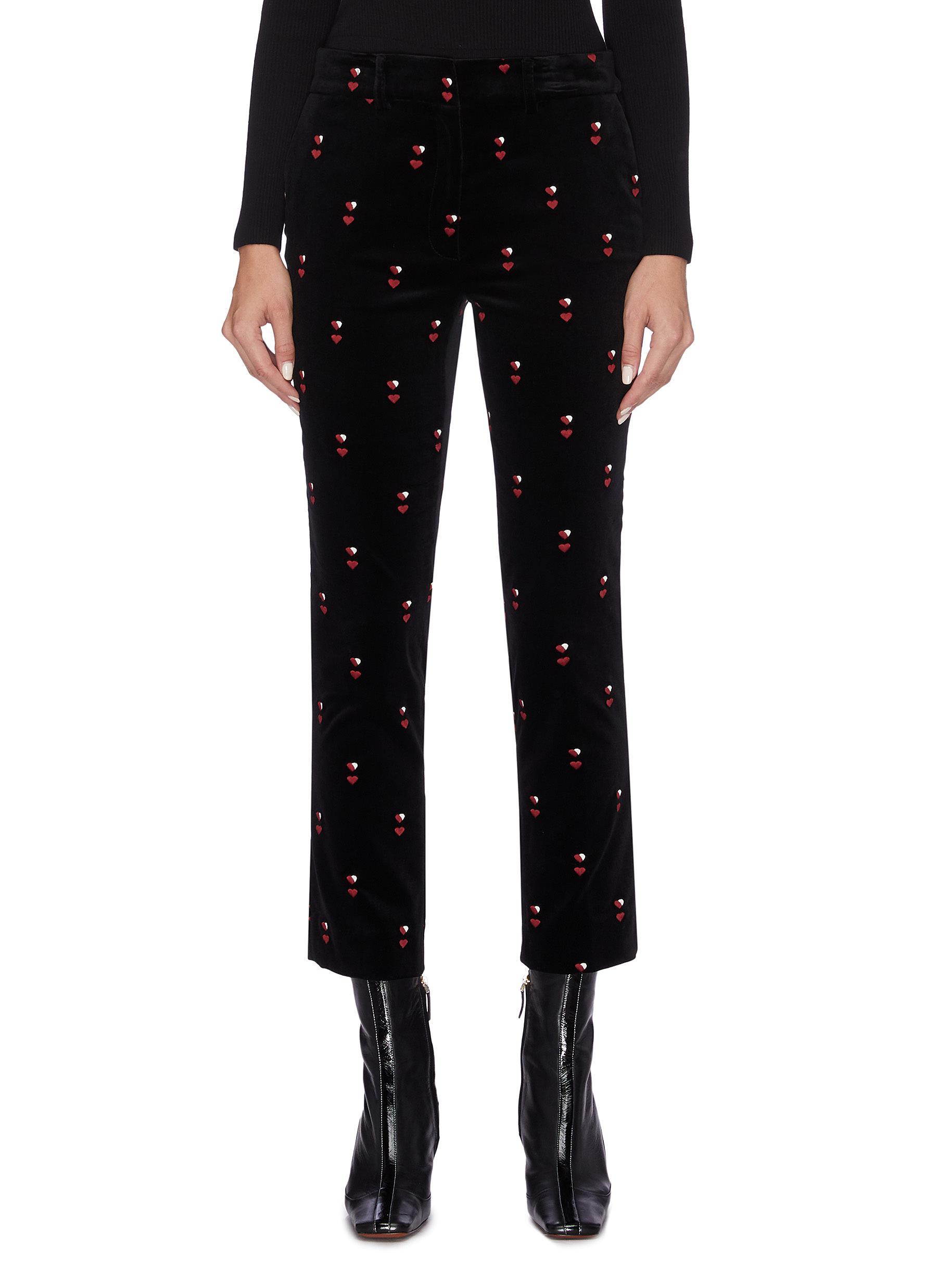 Heart embroidered cropped velvet pants by Frame Denim