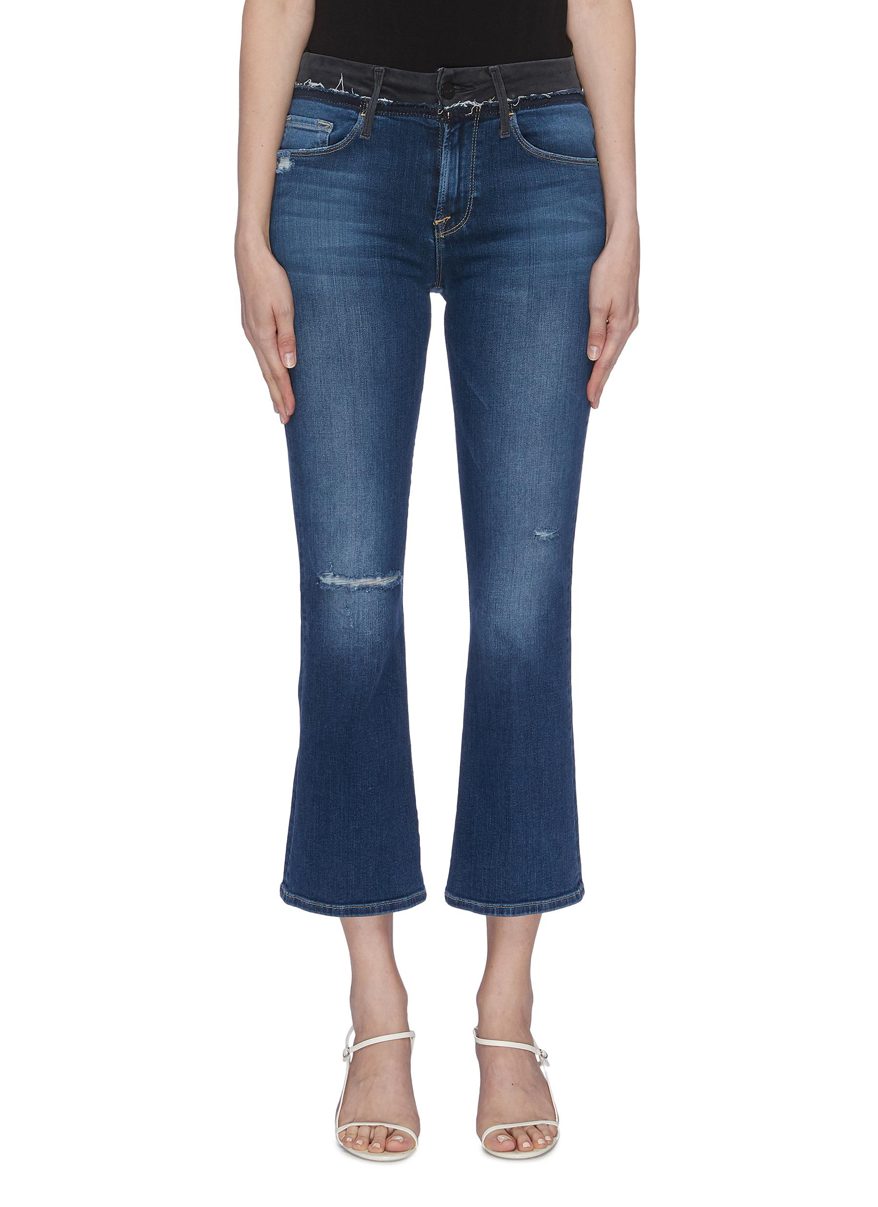 Le Crop Mini Boot contrast waist flared jeans by Frame Denim