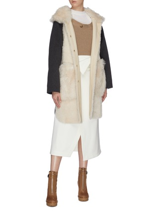 Figure View - Click To Enlarge - YVES SALOMON - Hooded patch pocket lambskin shearling wool-cashmere knit coat