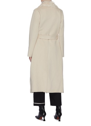Back View - Click To Enlarge - YVES SALOMON - Belted lambskin shearling cashmere-wool coat