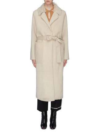 Main View - Click To Enlarge - YVES SALOMON - Belted lambskin shearling cashmere-wool coat