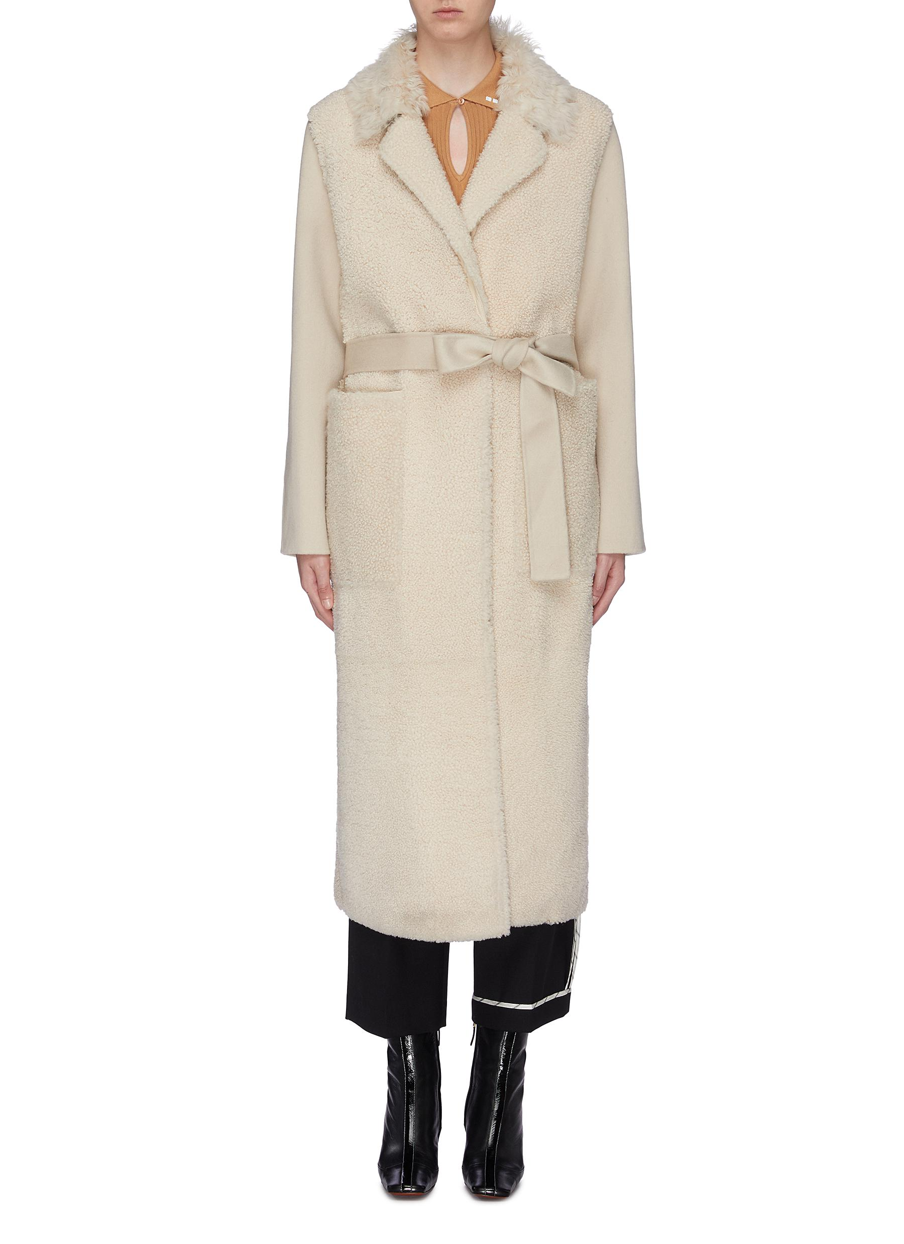 Belted lambskin shearling cashmere-wool coat by Yves Salomon