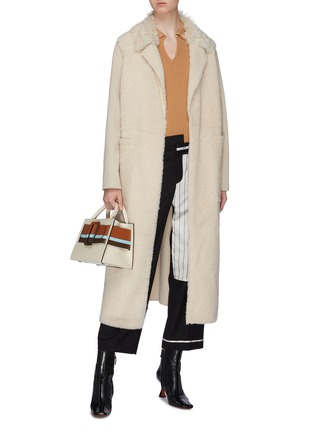 Figure View - Click To Enlarge - YVES SALOMON - Belted lambskin shearling cashmere-wool coat