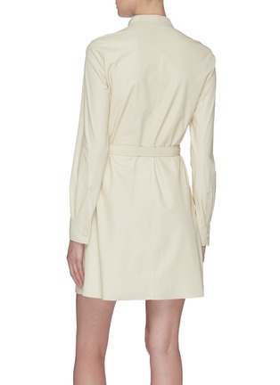 Back View - Click To Enlarge - YVES SALOMON - Belted lambskin leather dress