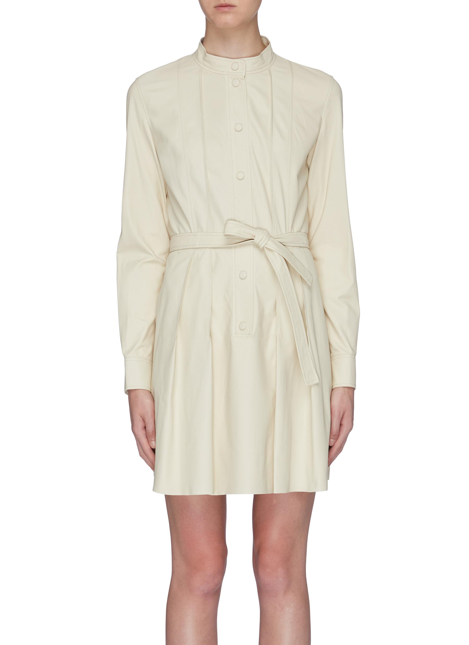 Belted lambskin leather dress by Yves Salomon