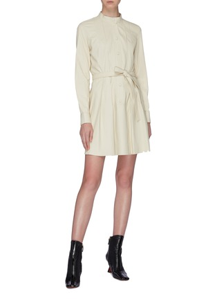 Figure View - Click To Enlarge - YVES SALOMON - Belted lambskin leather dress