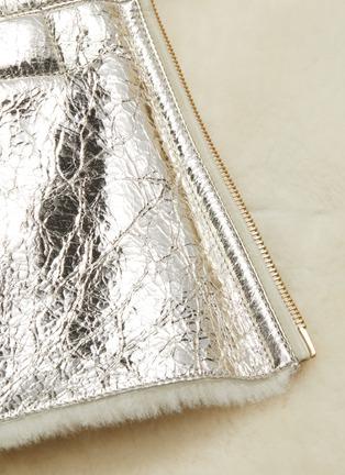 - YVES SALOMON - Merino wool collar cracked metallic lambskin shearling coat