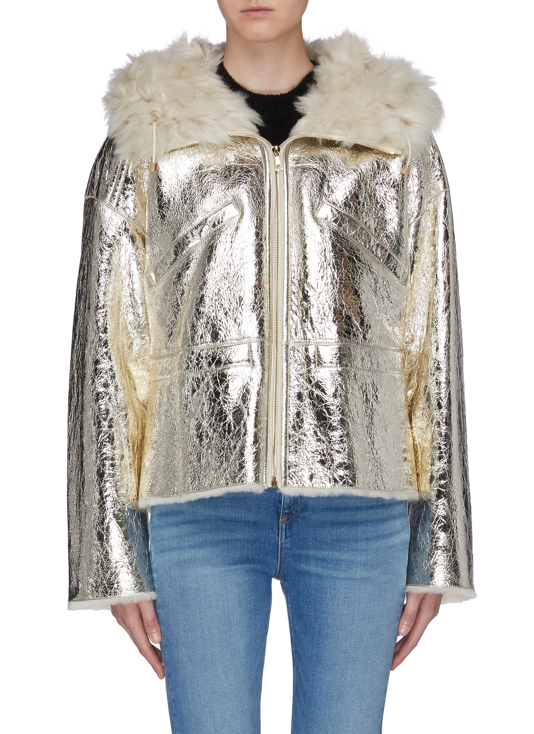 Merino wool collar cracked metallic lambskin shearling coat by Yves Salomon