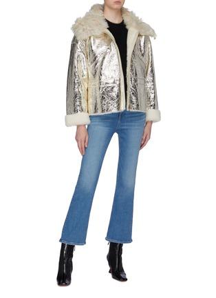 Figure View - Click To Enlarge - YVES SALOMON - Merino wool collar cracked metallic lambskin shearling coat