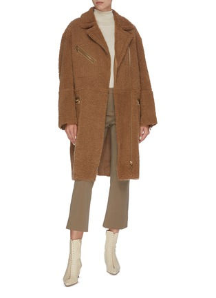 Figure View - Click To Enlarge - YVES SALOMON - Double breasted merino wool lambskin leather coat