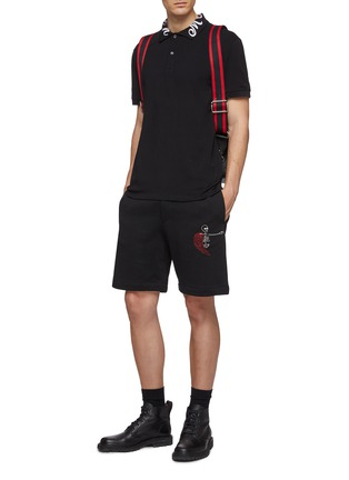 Figure View - Click To Enlarge - ALEXANDER MCQUEEN - Logo embroidered collar polo shirt