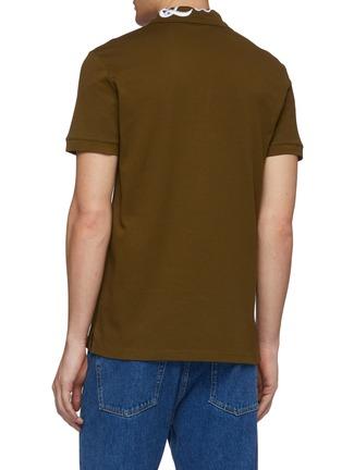 Back View - Click To Enlarge - ALEXANDER MCQUEEN - Logo embroidered collar polo shirt
