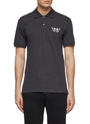 Main View - Click To Enlarge - ALEXANDER MCQUEEN - Butterfly embroidered polo shirt